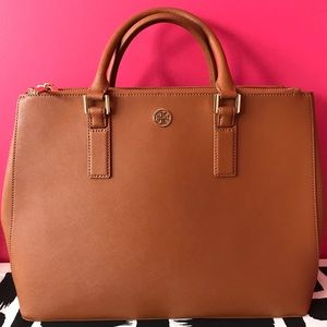Tory Burch: Cognac Medium Satchel + Straps